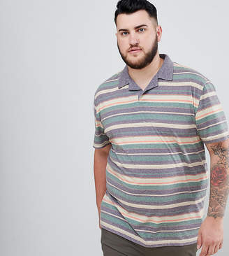 Asos Design DESIGN PLUS polo with retro stripe in linen look and revere collar
