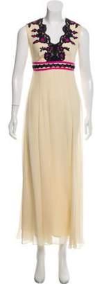 Temperley London Silk Embroidered Dress Beige Silk Embroidered Dress