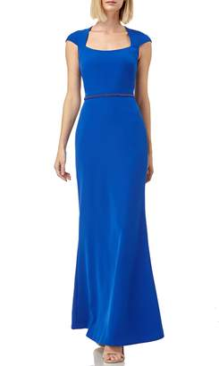 Kay Unger Cap Sleeve Stretch Crepe Gown