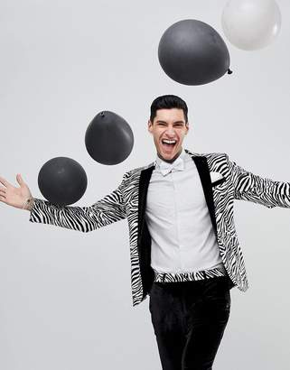 Asos Design Super Skinny Tuxedo Jacket In Black Velvet Zebra
