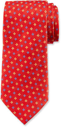 Duchamp Small Floral Pattern Silk Tie, Red