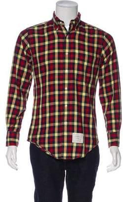 Thom Browne Plaid Button-Up Shirt