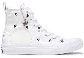 McQ Appliqued Printed Canvas High-top Sneakers