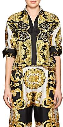 Versace Women's Baroque-Print Twill Blouse - Gold