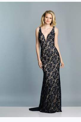 Dave and Johnny Navy Lace Gown