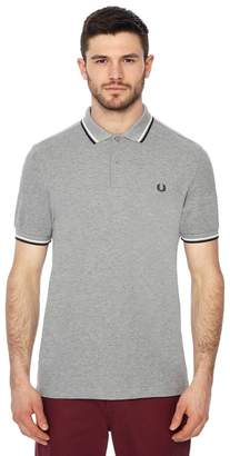 Fred Perry Light Grey Embroidered Logo Polo Shirt