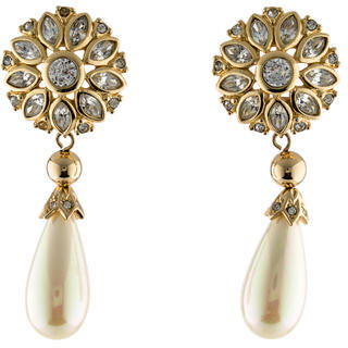 Christian Dior  Christian Dior Crystal & Faux Pearl Drop Earrings