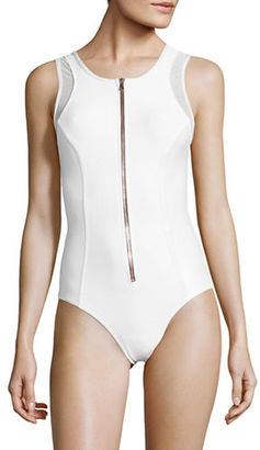 Luxe By Lisa Vogel Zip-Front One-Piece Swimsuit $158 thestylecure.com
