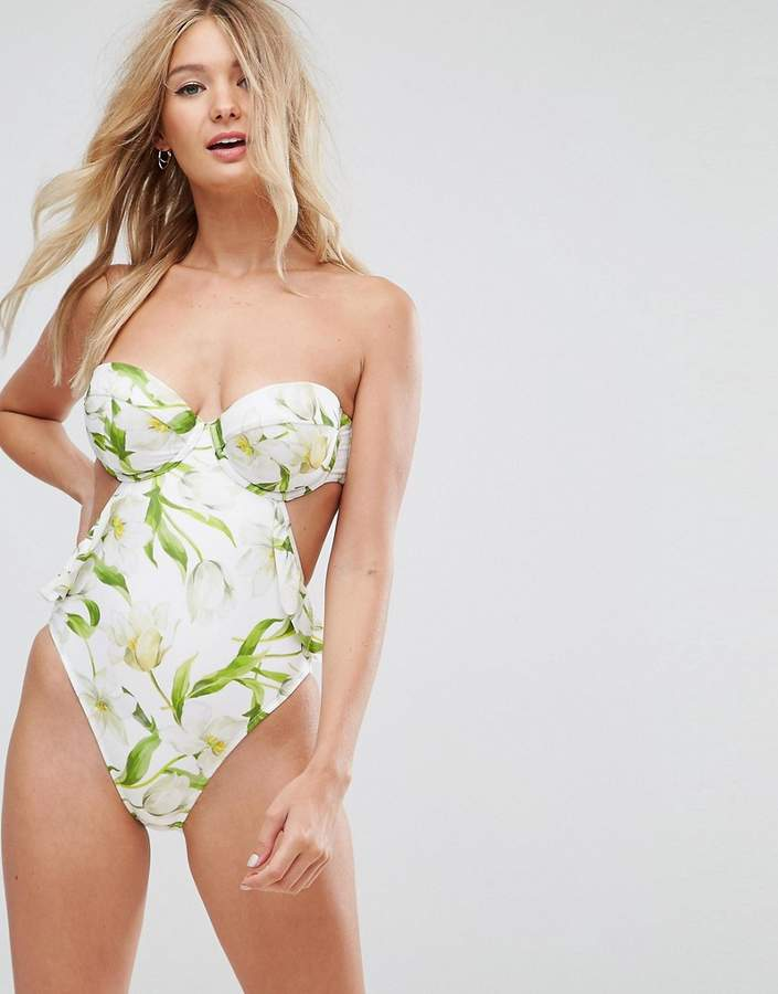ASOS FULLER BUST Riviera Floral Print Cupped Frill Bandeau Swimsuit DD-G