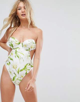 Riviera ASOS DESIGN FULLER BUST Floral Print Cupped Frill Bandeau Swimsuit DD-G