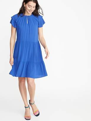 Old Navy High-Neck Ruffle-Trim Swing Dress for Women