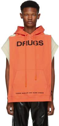 Raf Simons Orange 'Drugs' Panel Hoodie