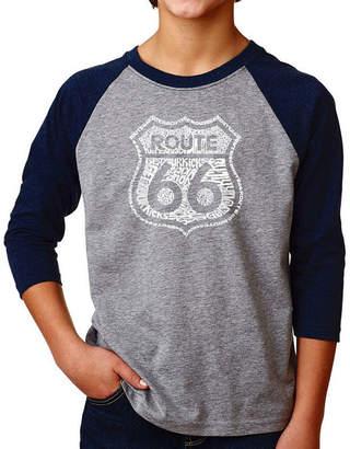 LOS ANGELES POP ART Los Angeles Pop Art Boy's Raglan Baseball Word Art T-shirt - Get Your Kicks on Route 66