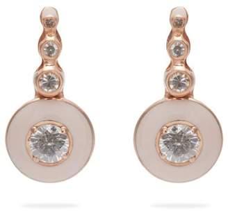 Selim Mouzannar Mina 18kt Rose Gold, Diamond & Enamel Earrings - Womens - Pink