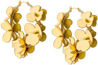 flower embellished hoop earrings