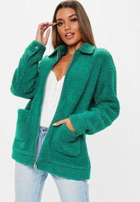 Missguided Teal oversized borg zip through teddy jacket