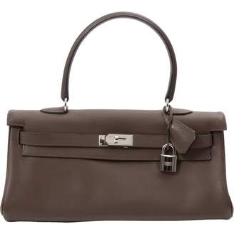 Hermes Kelly Shoulder Brown Leather Handbag