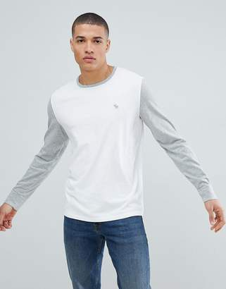 Abercrombie & Fitch icon logo color block long sleeve top in white/gray