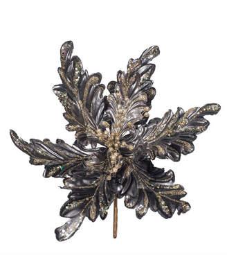 "Vickerman 17"" Pewter Faux Pearl Glitter Poinsettia 14"" Flower Head 3/Bag"