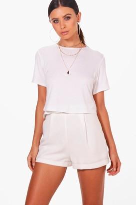 boohoo Petite Basic Cropped T-Shirt