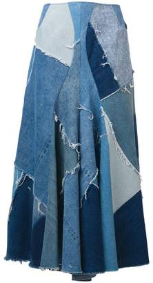 Junya Watanabe patchwork denim maxi skirt
