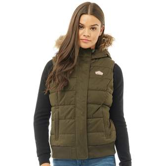 Superdry Womens Microfibre Gilet Army