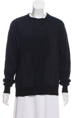 Joseph Suede-Trimmed Crew Neck Sweatshirt