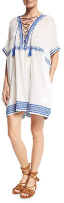 Vitamin A Isabell Lace-Up Embroidered Short Caftan Coverup, White $150 thestylecure.com