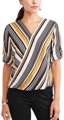 COMO BLU Women's 3/4 Sleeve Wrap Top
