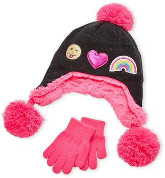 Capelli New York (Girls) Two-Piece Emoji Hat & Mittens Set
