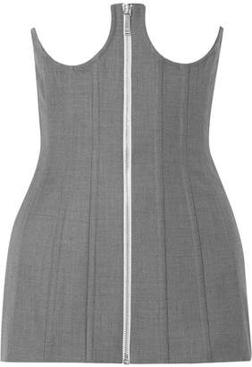 Thom Browne Lace-up Cotton Bustier Top - Gray