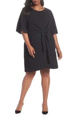 Tahari Tie Front Crepe Shift Dress