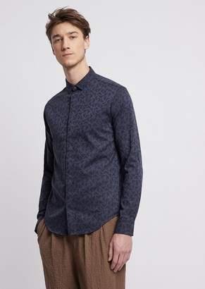 Emporio Armani Shirt In Jacquard Poplin Cotton With Logo