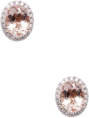 Rina Limor Fine Jewelry 10K Rose Gold Morganite & Diamond Halo Studs
