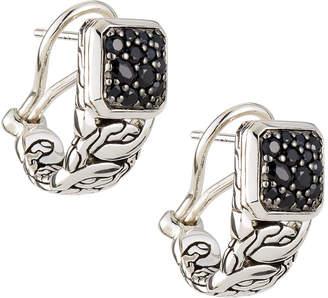 John Hardy Batu Classic Chain Black Sapphire Hoop Earrings