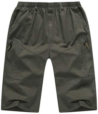 Insun Men's Cotton 3 4 Big Tall Zip Pockets Cargo Shorts 6XL