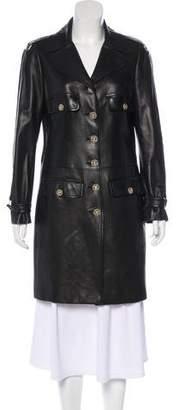 Chanel Leather Notch-Lapel Coat