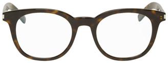 Saint Laurent Tortoiseshell Round Slim Glasses