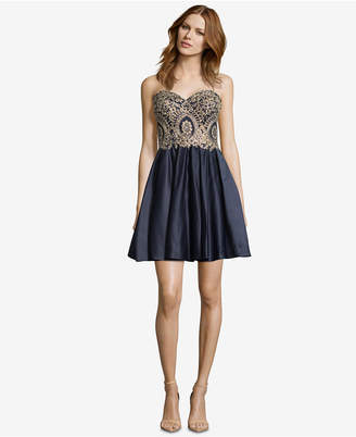 Betsy & Adam Strapless Appliqué Fit & Flare Dress