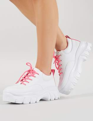 2b33801c0a5 Public Desire Rylee Chunky Trainers and Neon Pink