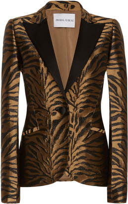 Prabal Gurung Printed Notched-Collar Fitted Jacquard Jacket