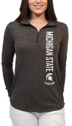 NCAA Michigan State Spartans Cascade Text Women's/Juniors Team Long Sleeve Half Zip Shirt