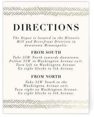 Casual Herringbone Foil-Pressed Direction Cards