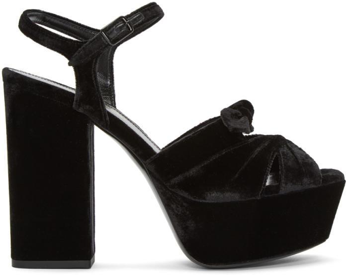 Saint Laurent Black Velvet Farrah Sandals