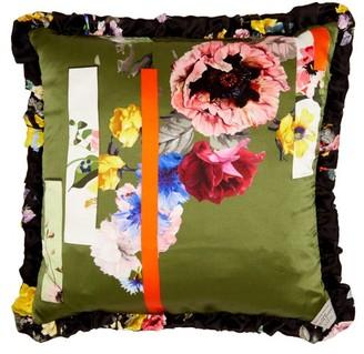 Preen by Thornton Bregazzi Graphic Floral Print Silk Satin Cushion - Womens - Green Multi