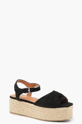 boohoo Knot Front Square Toe Flatform Sandals