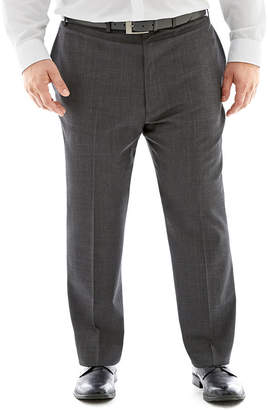 Claiborne Charcoal Herringbone Flat-Front Suit Pants - Big & Tall