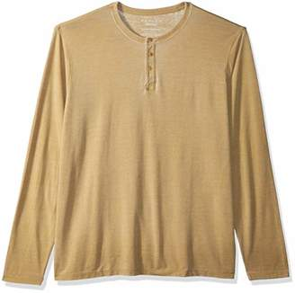 Lucky Brand Men's Casual Long Sleeve Sueded Burnout Henley