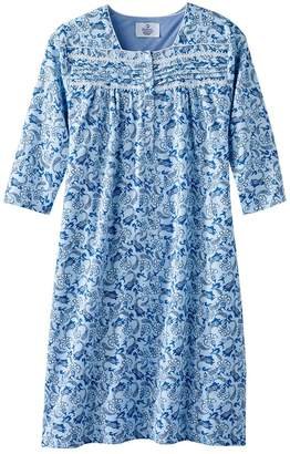 Silverts Disabled Elderly Needs Hospital Gowns - Womens Pretty Flannel Hospital Patient Gowns - Flanelette Open Back Nightgowns - Easy Caregiver Assisted Dressing - Regular and Plus Sizes - SMA