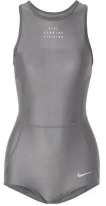 Nike Run Division Cutout Dri-fit Stretch Bodysuit - Gray
